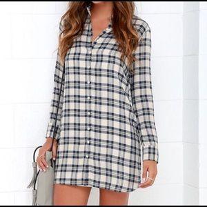 BB Dakota plaid shirt dress nwot
